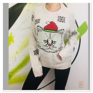Urban Outfitters ugly Christmas sweater grumpy cat